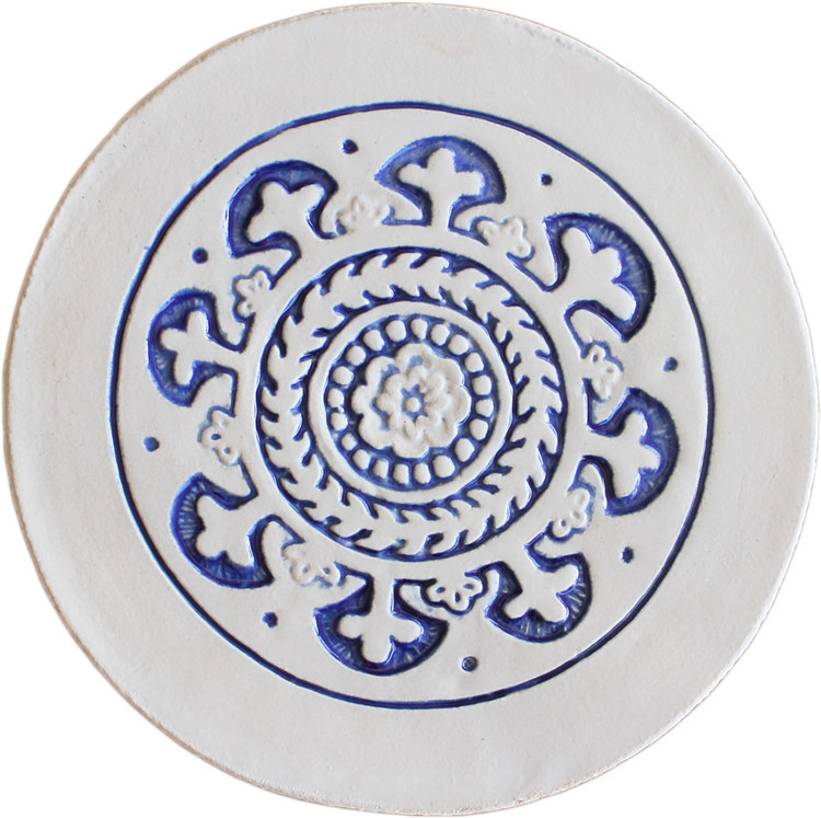 Wall decoration Suzani Circular  21cm with border - Blue&White