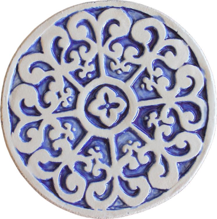 Wall decoration Mandala#2 Circular 15cm Blue&White