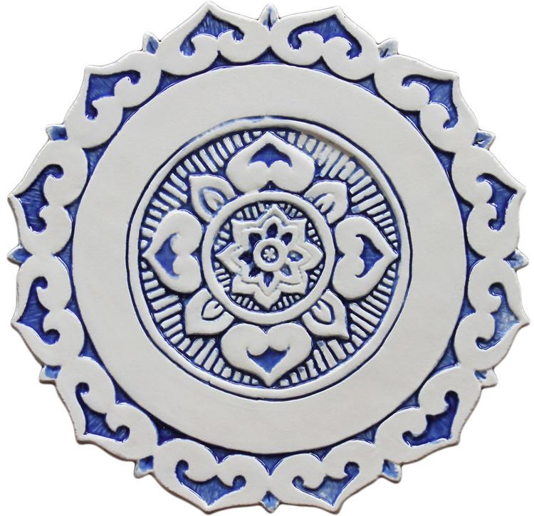 Mandalita ceramic wall art liso/R - blue  [28cm]