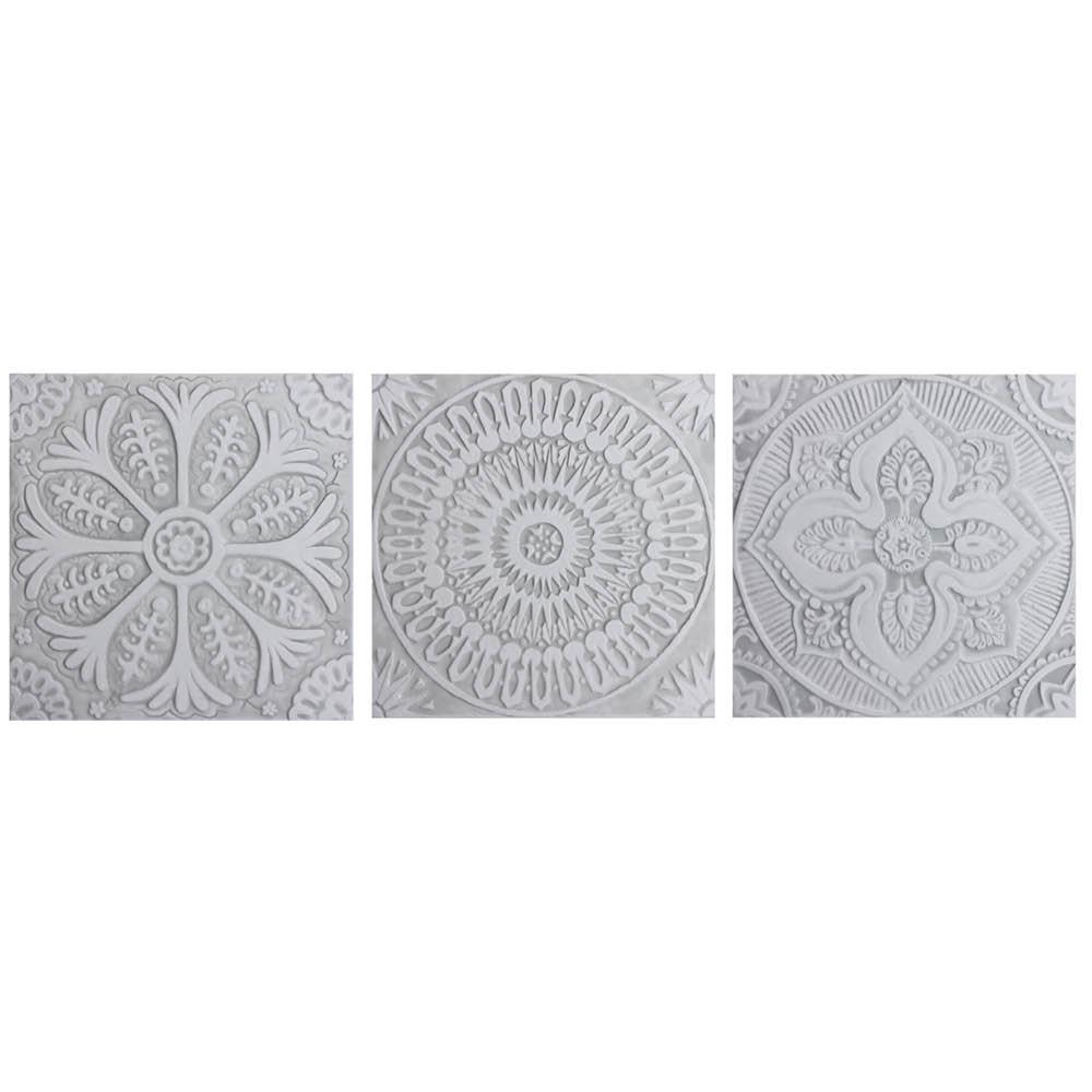 Set Of 3 Large Grey White Tiles Handmade Tiles By Gvega