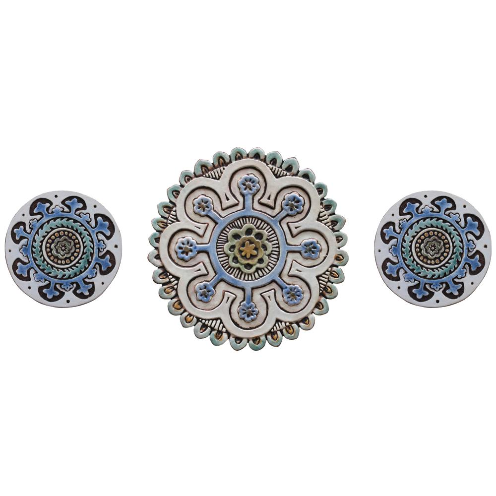 3 Circle Tiles Matt Blue Ceramic Wall Art Floral 2