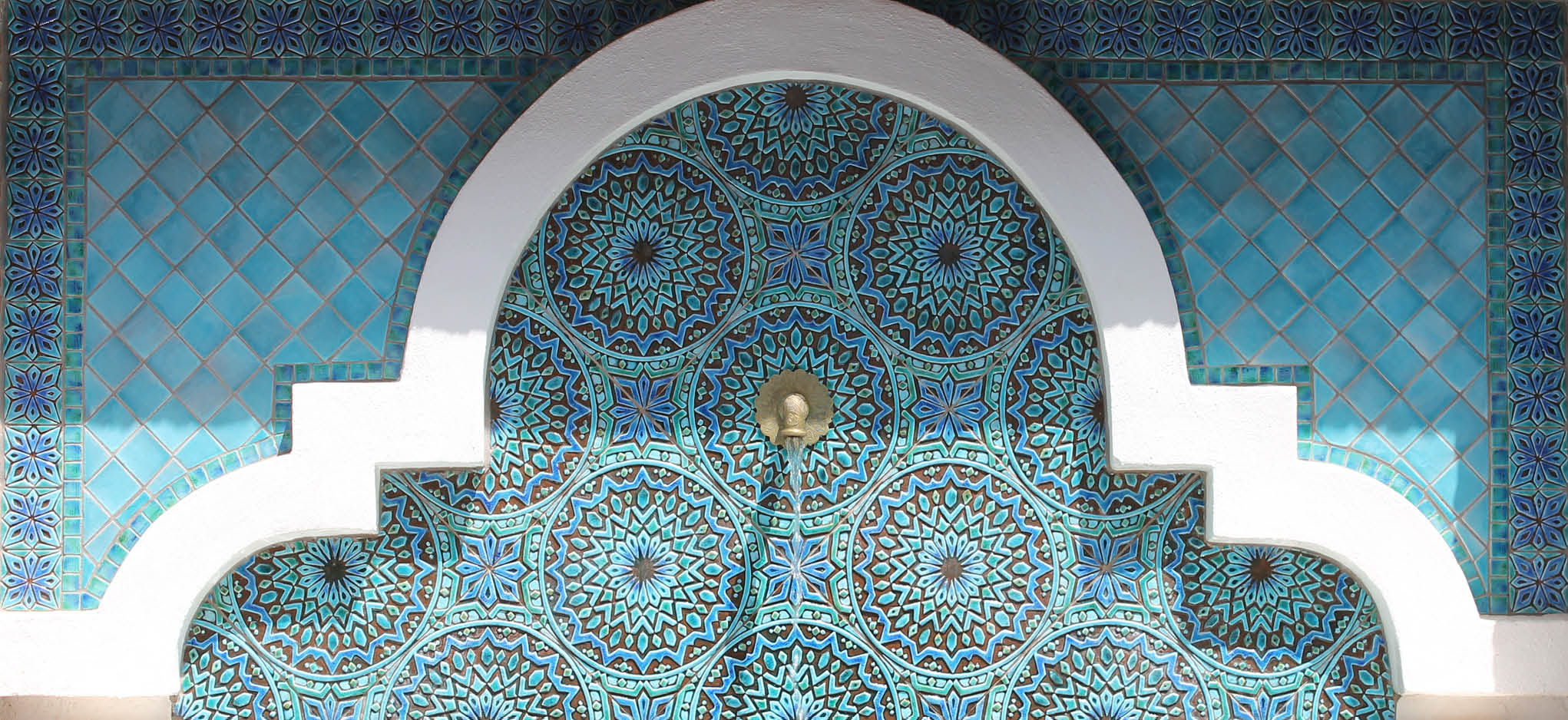 handmade tiles Moroccan fountain