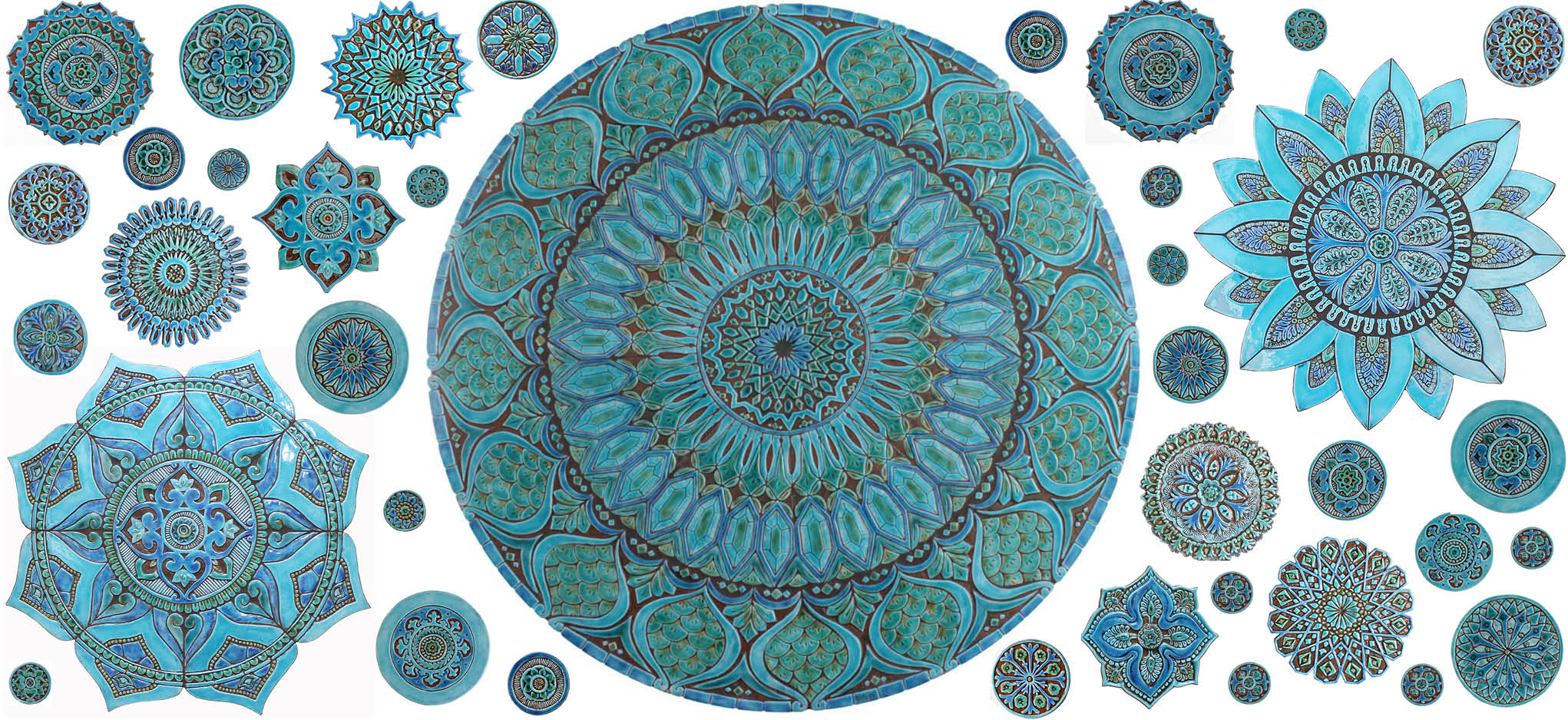 Turquoise circles wall art image