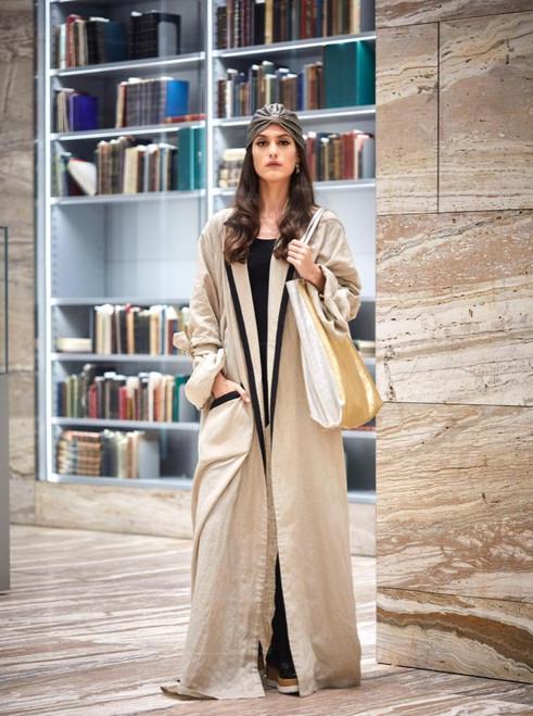Beige Linen Abaya