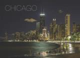 Chicago Night North Ave Postcard 5x7
