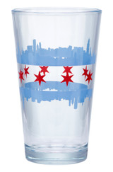 Chicago Double Skyline Pint Glass