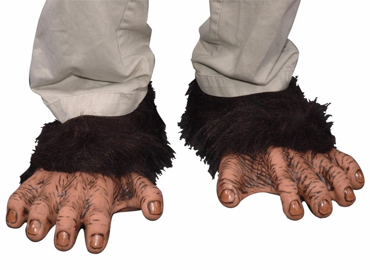 LATEX GORILLA FEET ADULT APE CHIMPANZEE MONKEY ANIMAL SHOE FOOT COVERS BLACK