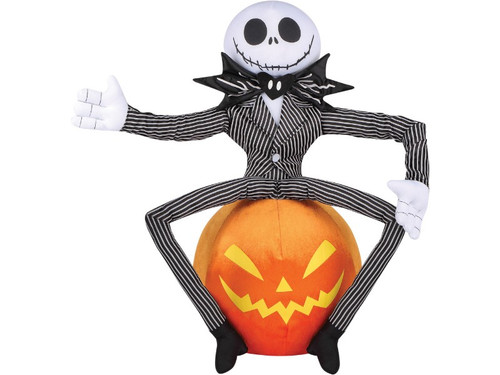 the nightmare before christmas can be wickedly displayed in your yard with this jack skellington inflatable