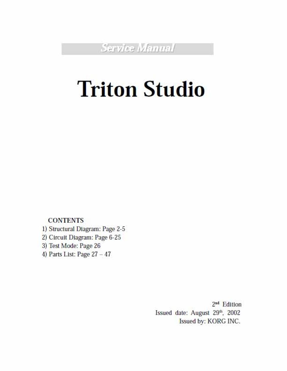 Korg Triton Studio Service Manual