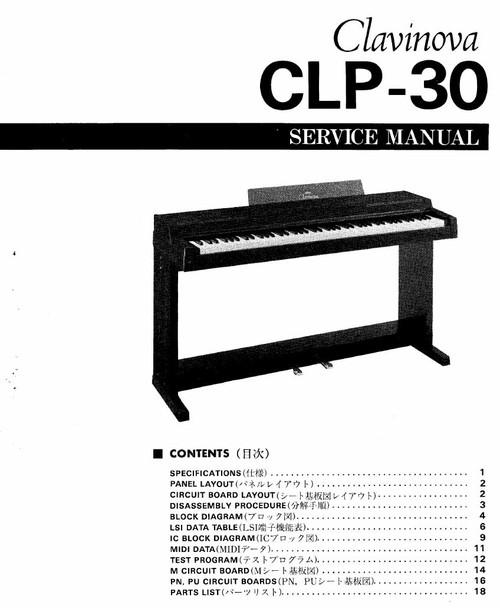 Yamaha CLP-30 Service Manual