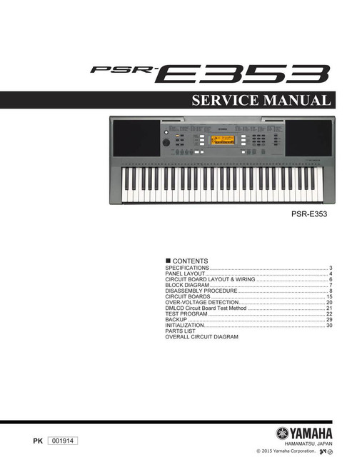 Yamaha PSR-E353 Service Manual