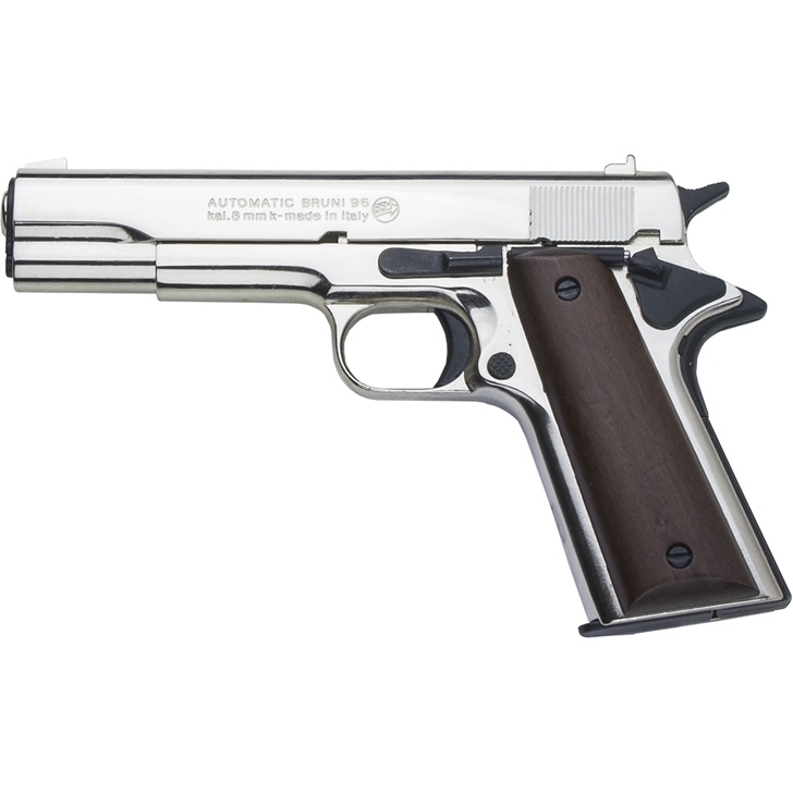 Deluxe 8mm Blank Firing Replica .45 Caliber Army Pistol Nickel Finish Main Image