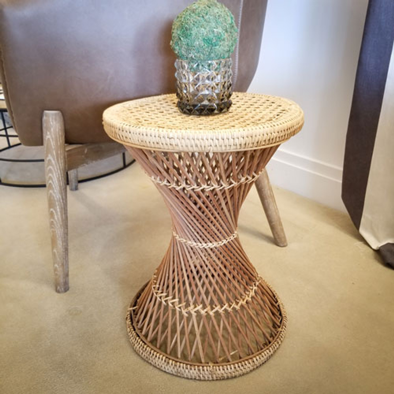 Vintage Rattan Side Table Plant Stand Texture Home