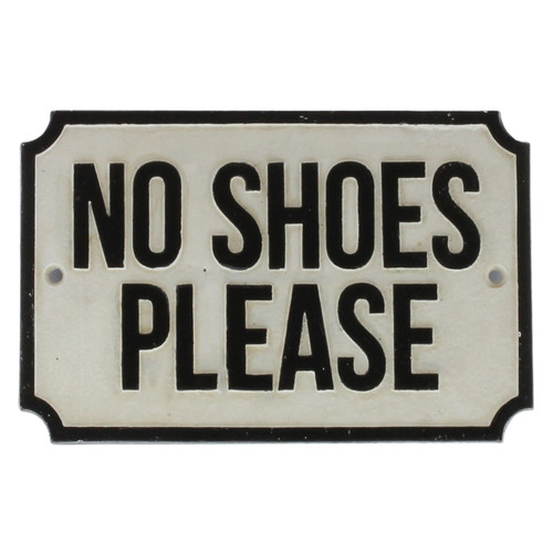 no shoes please cast iron sign