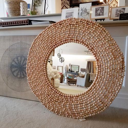 Wood Bead Mirror
