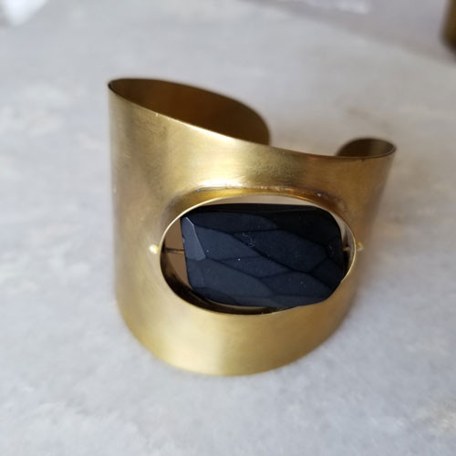 Floating Stone Brass Cuff