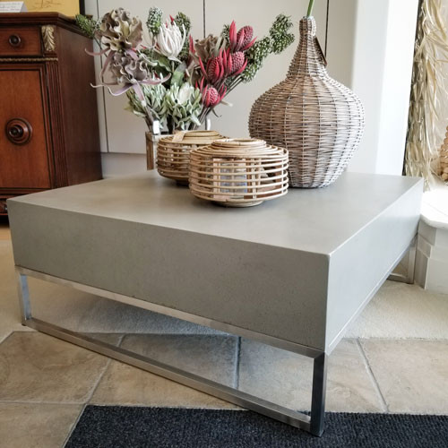 Hand Finished Concrete And Chrome Mod Coffee Table