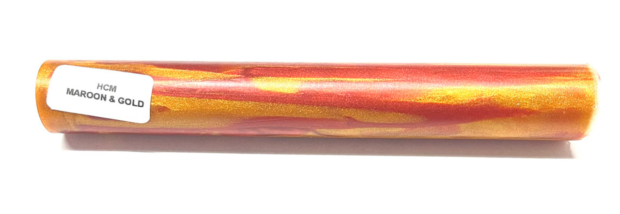 Hobby-Cast Maroon and Gold Acrylic Pen Blank