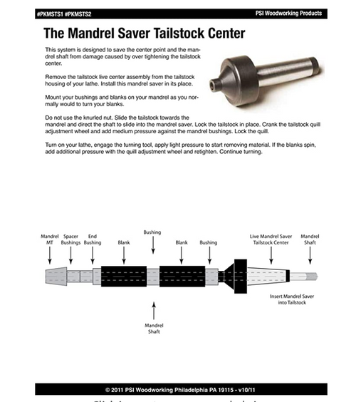 PKMSTS  Pen Mandrel Saver Live Tailstock
