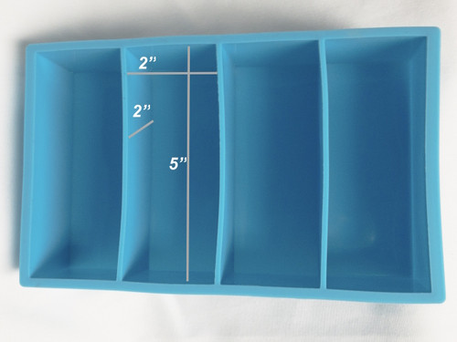 Blue Silicone BLANK CASTING Mold 2x2x5   4 Cavity