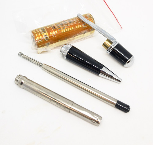 Wall Street III Orange Circuit Board Ballpoint Pen Kit - Chrome
