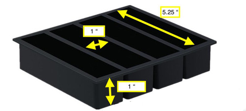 Oversized 4  Cavity Black Silicone Mold for Casting