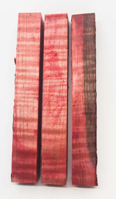 Dyed Stabilized Curly Maple  Pen Blank (RED)