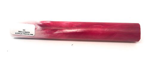 Hobby-Cast Red & White Acrylic Pen Blank
