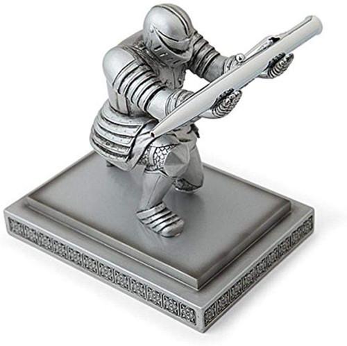 Executive Knight Pen Holder - Decorative Resin Pen Holders Desktop Organizer for Men (Silver)