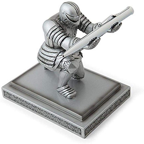 Executive Knight Pen Holder - Decorative Resin Pen Holders Desktop Organizer for Men (Silver)