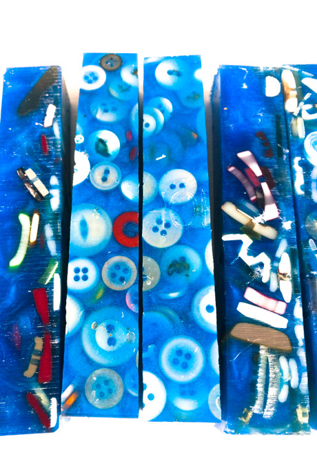 #321 Sewing Buttons Blanks in Deep Blue (1 Blank)