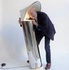 Chiara LED Floor in Stainless Steel by Mario Bellini for Flos