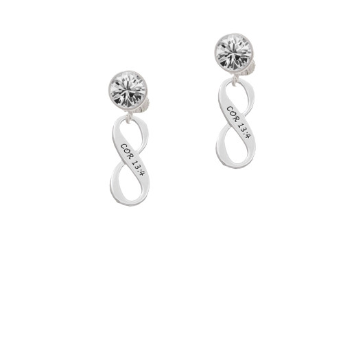 1 Corinthians 13:4 Infinity Sign Clear Crystal Clip On Earrings