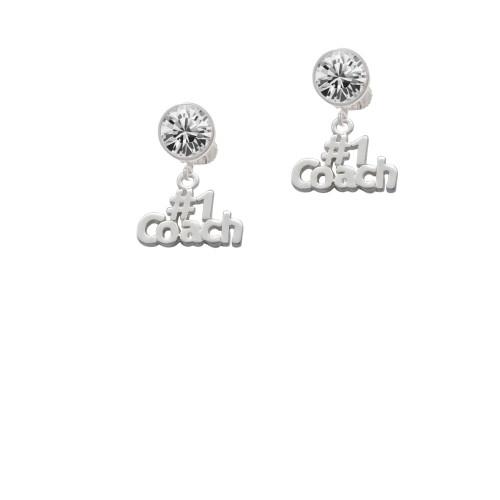 #1 Coach Clear Crystal Clip On Earrings