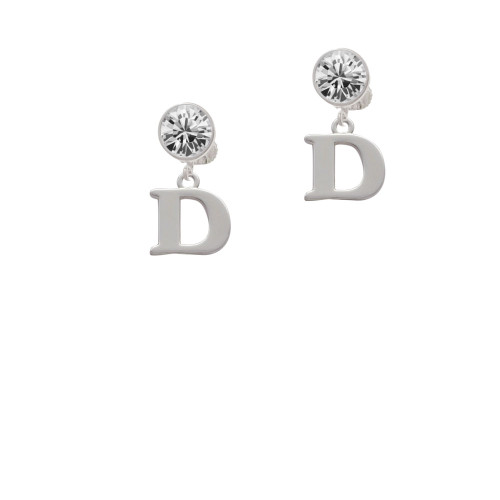 Large Initial - D - Clear Crystal Clip On Earrings