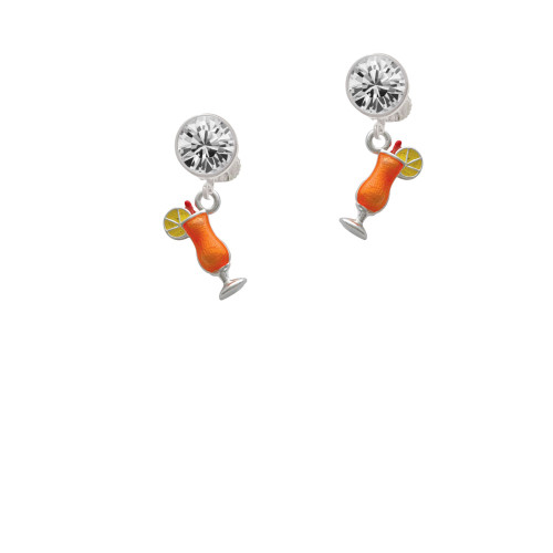 3-D Orange Tropical Drink Clear Crystal Clip On Earrings