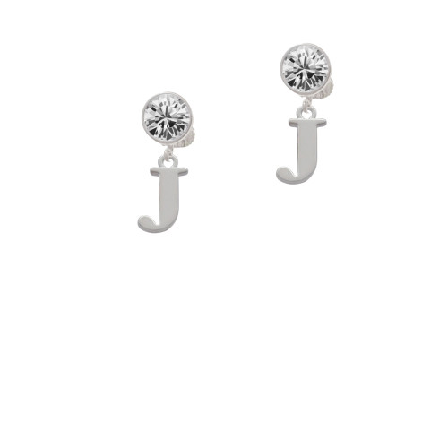 Large Initial - J - Clear Crystal Clip On Earrings