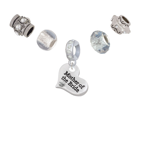 Large Mother of the Bride Heart Silver Tone Charm Bead Set (5 pieces)