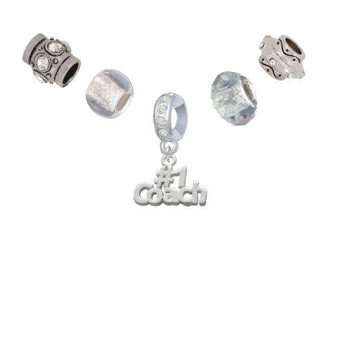 #1 Coach Silver Tone Charm Bead Set (5 pieces)