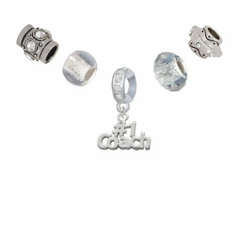 #1 Coach Silver Tone Charm Bead Set (5 pieces)