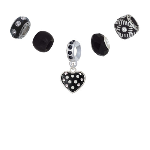 Black Resin Heart with Clear Crystals in Frame Black Charm Bead Set (5 pieces)