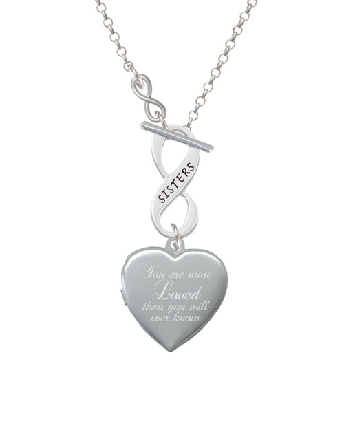 You Are More Loved Engraved Locket To Infinity Sisters Toggle Necklace