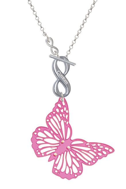 Acrylic Cut Out Butterfly Mirror Pink To Infinity Custom Engraved Toggle Necklace