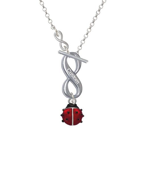 Mini Red Translucent Ladybug To Infinity Custom Engraved Toggle Necklace
