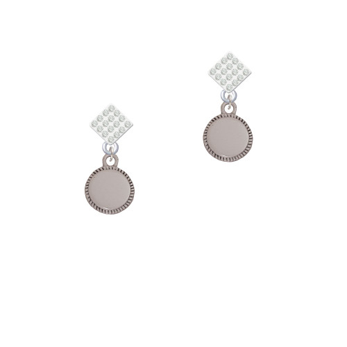 12mm Blank Disc with Flange White Clear Crystal Diamond-Shape Earrings