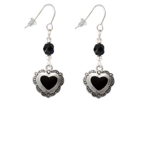 Black Concho Heart Black Bead French Earrings