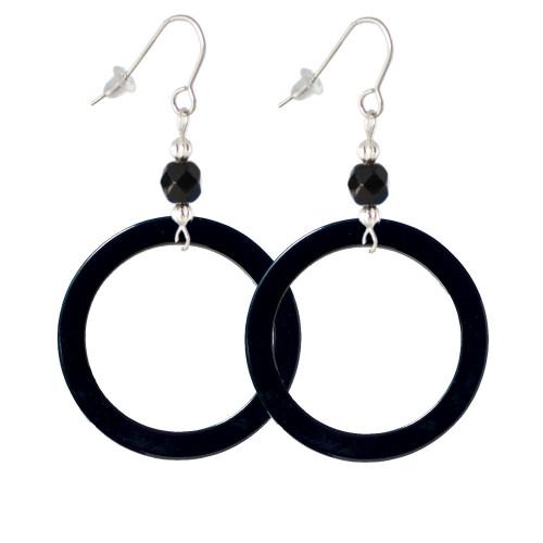 "Acrylic 1 1/2"" Ring Black Black Bead French Earrings"