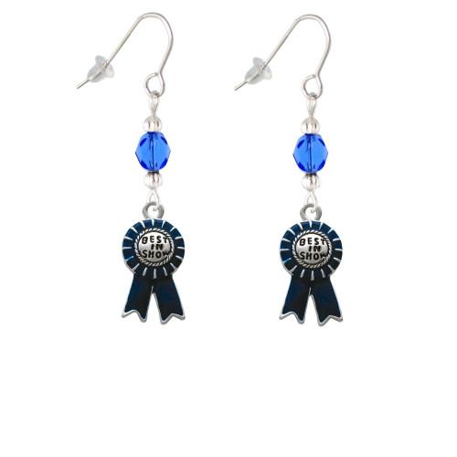 Best in Show Blue Ribbon Blue Bead French Earrings