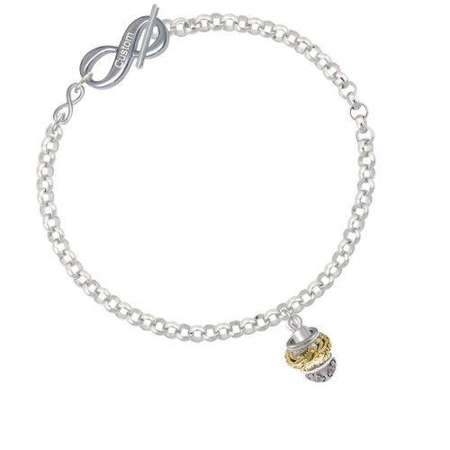 Gold Tone Dragon with Silver Tone Border Spinner To Infinity Custom Engraved Toggle Bracelet