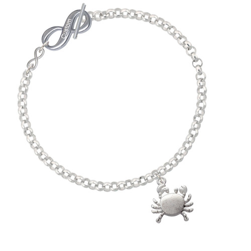 Antiqued Crab To Infinity Custom Engraved Toggle Bracelet